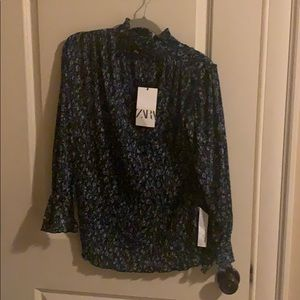 Zara high neck long sleeve blouse